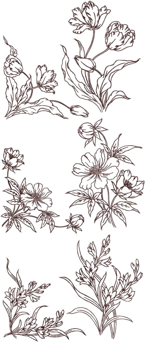 Advanced Embroidery Designs Redwork Flower Corners And Borders Set