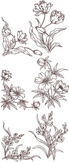 Redwork Flower Corners and Borders Set