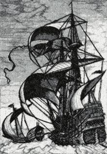 Man of War ship by Pieter Bruegel. Machine embroidery design.