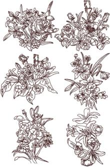Flower Bouquet Redwork Set