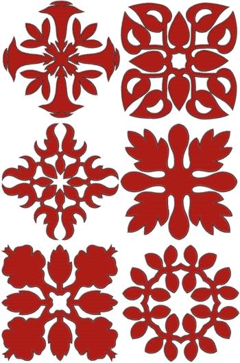 Hawaiian Motif Applique Set