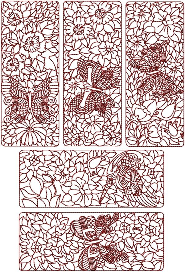 Embroidery Quilt Block Designs : Advanced Embroidery Designs - Birds and Butterflies Quilt Block Set II