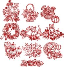 Autumn Redwork Set