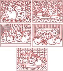 Fruits and Flowers Trapunto Quilting Block Set I