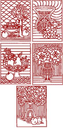 Fruits and Flowers Trapunto Quilting Block Set II
