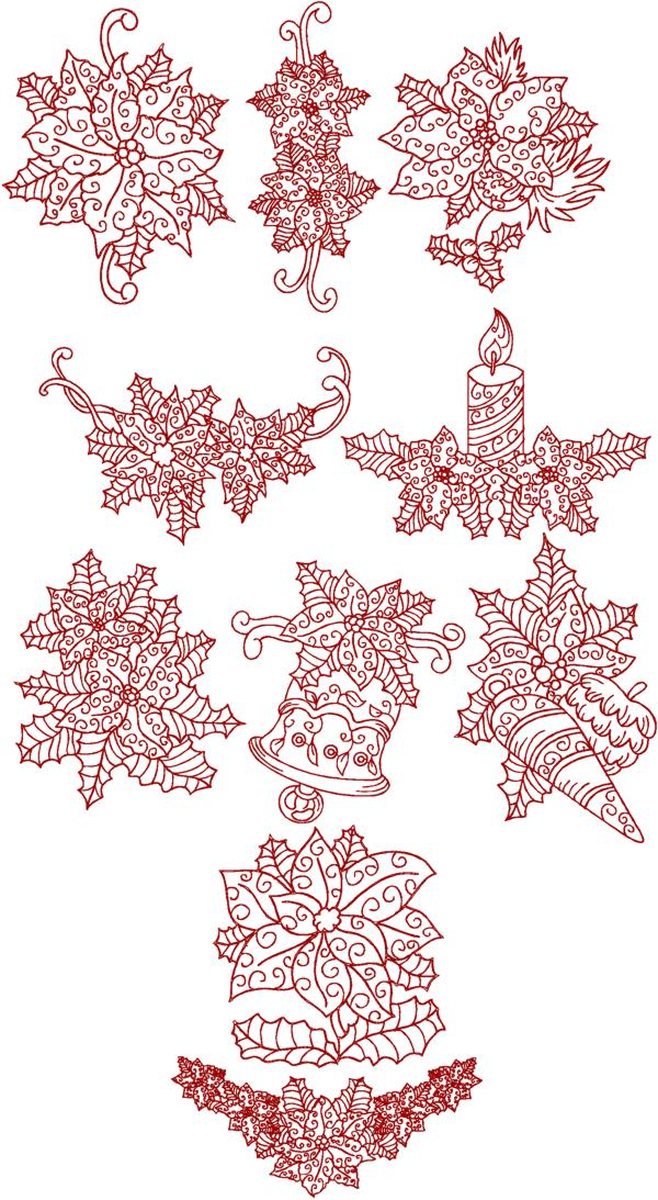 Advanced embroidery designs christmas poinsettia redwork set