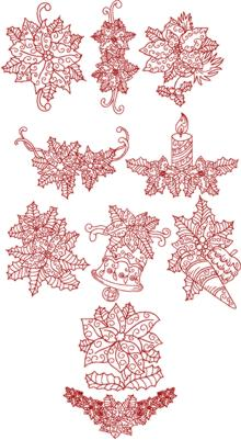 Christmas Poinsettia Redwork Set