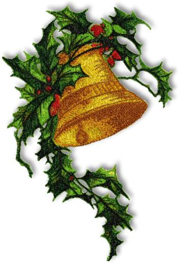Christmas bells and holly border bell with