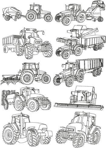 Advanced Embroidery Designs Farm Machines Redwork Set