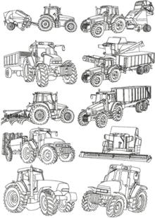 Farm Machines Redwork Set