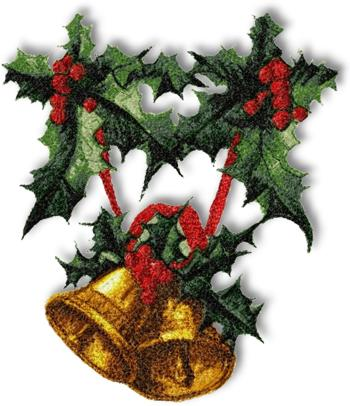 Christmas Bells with Holly Garland