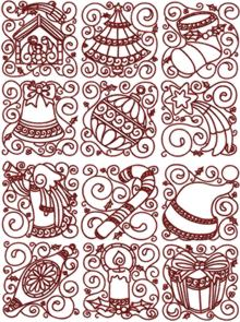 One-Color Christmas Block Set of 12 Machine Embroidery Designs