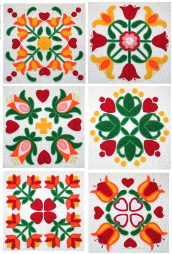 Advanced Embroidery Designs Applique Flower Quilt Block Set Custom Applique Patterns Flowers