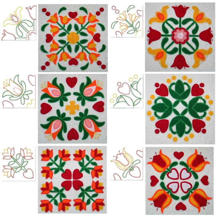 Embroidery Quilt Block Designs : Advanced Embroidery Designs - Applique Flower Quilt Block Set