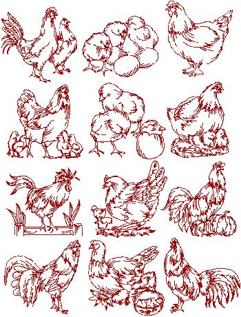 Rooster and Hen Redwork Set