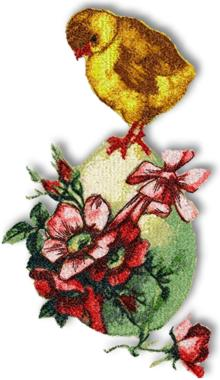 Chicken with Easter Egg embroidery design.