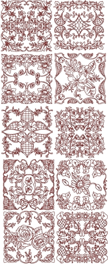 Redwork Flower Medallion Set II