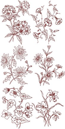 Summer Flowers Redwork Set