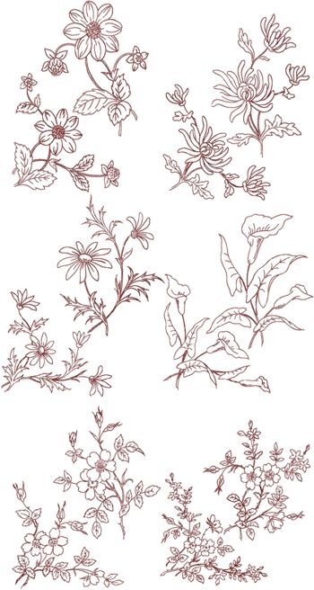 Summer Flowers Panels and Corners Redwork Set
