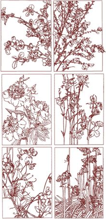 Redwork Flower Panel Set II