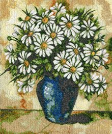 Daisies in Blue Vase