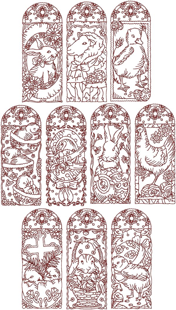 Advanced Embroidery Designs Easter Redwork Set