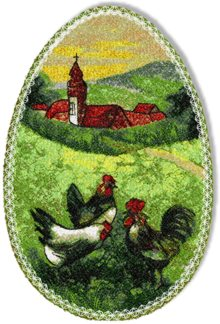 Easter Egg with Chickens embroidery design.