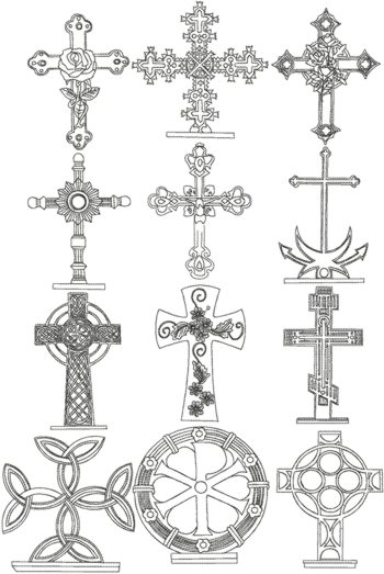 Redwork Cross Set