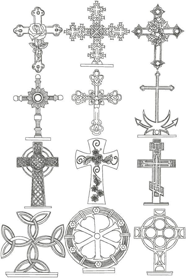 Advanced Embroidery Designs Redwork Cross Set