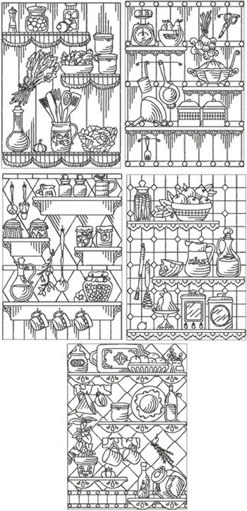 Kitchen Redwork Set I
