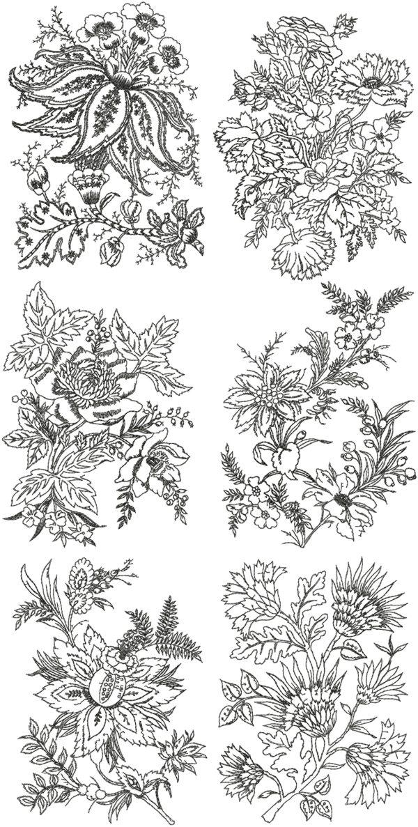 Advanced Embroidery Designs Fancy Flowers Redwork Set