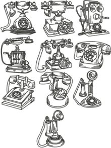 One-Color Vintage Phone Set