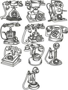 Vintage Phone Set, machine embroidery designs.
