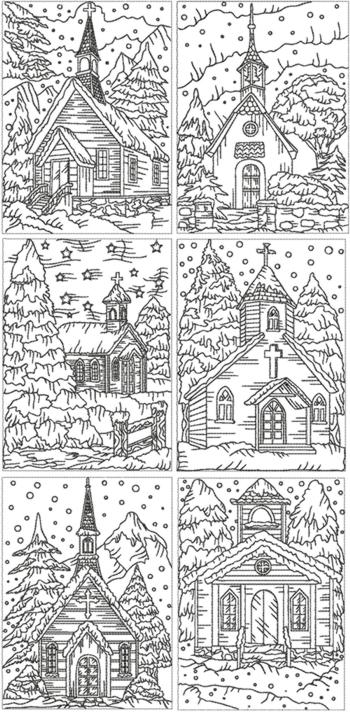 Advanced Landscape Coloring Pages : Advanced embroidery designs redwork christmas church set