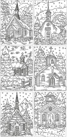 Redwork Christmas Church Set