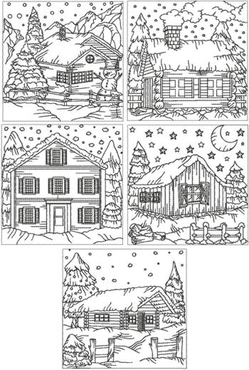Advanced Embroidery Designs Redwork Winter Cottage Set