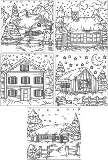 Redwork Winter Cottage Set