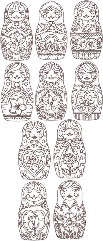Redwork Russian Doll (Matreshka) Set