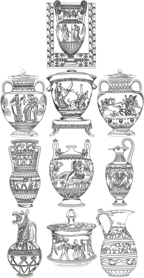 Advanced Embroidery Designs One Color Ancient Greek Vase Set