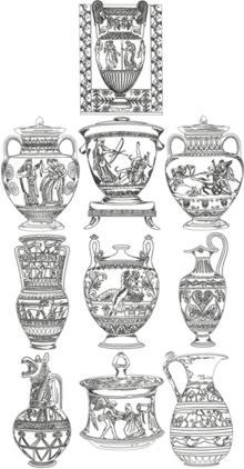 One-Color Ancient Greek Vase Set