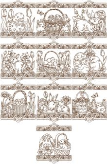 Redwork Easter Border Set