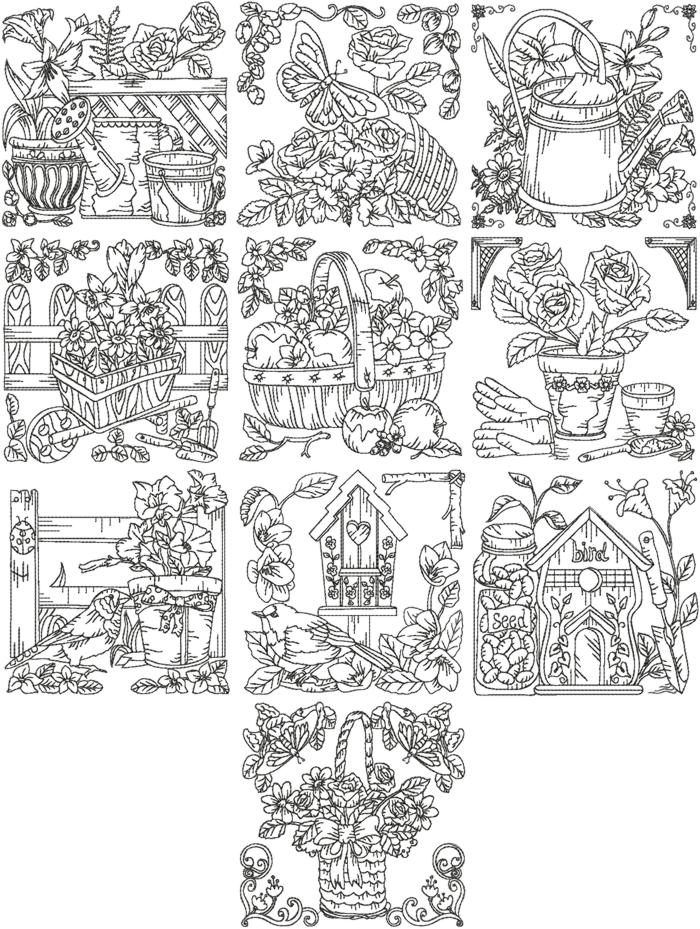Garden Embroidery Designs 03 garden arch Advanced Embroidery Designs Redwork Garden Set V