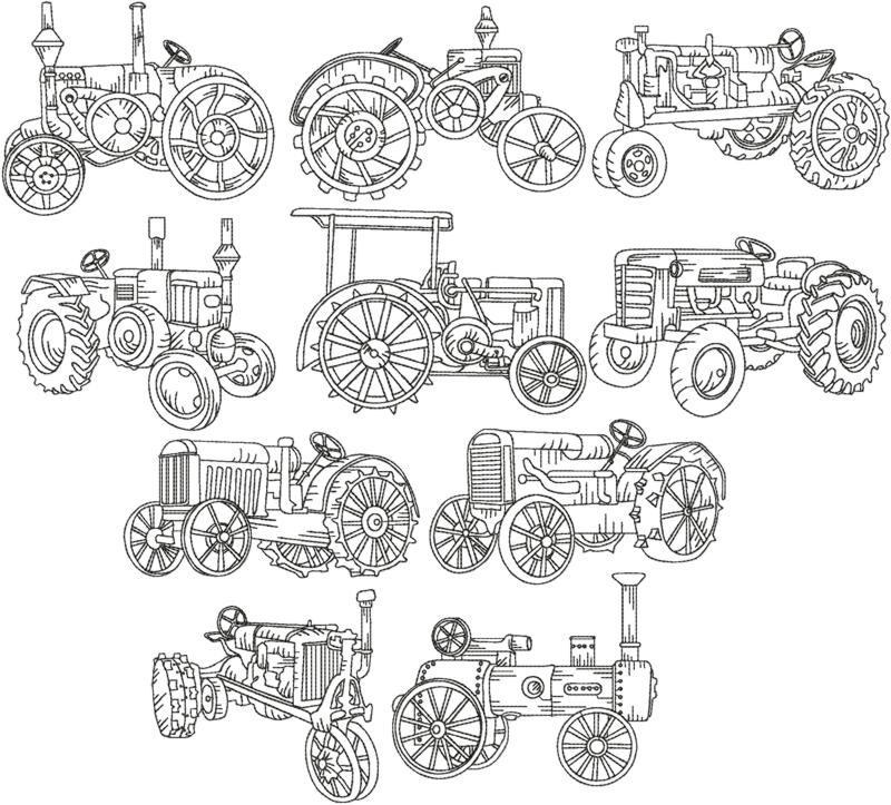 Embroidery Of Tractors : Advanced embroidery designs tractor redwork set