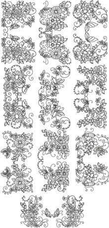 Vignette Flower Border Set
