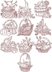 Harvest Basket Redwork Set