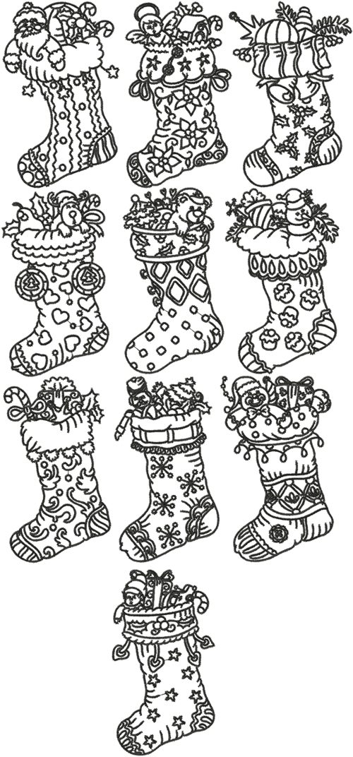 Advanced Embroidery Designs One Color Christmas Stocking Set