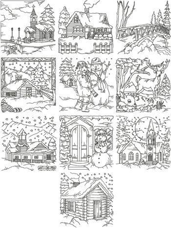One-Color Winter Scene Set