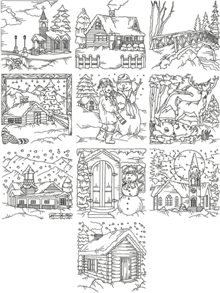 Redwork Winter Scene Set