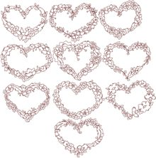 Redwork Flower Heart Set