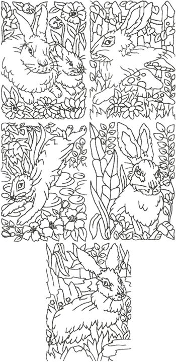 One Color Easter Rabbit Set